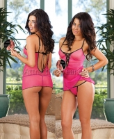 7308 Dreamgirl Lingerie, Stretch mesh baby doll with matching thong a