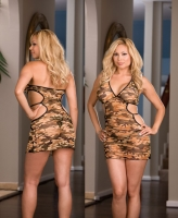 4245X Dreamgirl Lingerie, Camouflage printed lycra net halter dress w