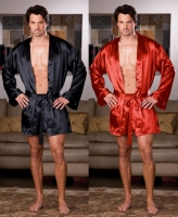 6279 Dreamgirl Men Lingerie, Charmeuse robe set with attached belt an