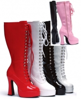 Easy Ellie Boots, 5 inch Chunky high heels Platforms, Zipper Knee Hig