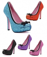 5001 Princess Leg Avenue Shoes, 5 Inch Glitter Heels Pumps Patent Bow