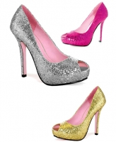 5011 Ella Leg Avenue Shoes, 5 Inch Glitter High Heels Pumps Peep toe