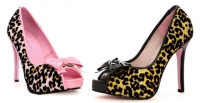 5018 kitty Leg Avenue Shoes, 5 Inch High Heels Pumps Leopard Peep Toe