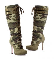 5025 Sergeant Leg Avenue, 4.5 Inch Heels Pumps Canvas Camouflage Knee