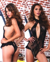 81514 Leg Avenue, lace deep-V crotch less halter teddy