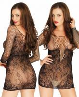 81532 Leg Avenue, Net and lace long sleeved mini dress