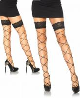 9119 Leg Avenue Crystalized wide net lace top thigh highs