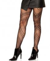 9289 Leg Avenue Black Chevron net tights