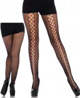 9757 Leg Avenue, Micro net lace up illusion tights.
