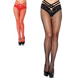 9971 Leg Avenue, Spandex Industrial Net tights with strap lace panty
