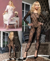8678 Leg Avenue Bodystocking,  long sleeved footless bow lace bod