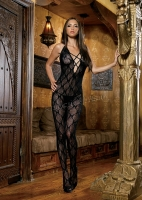 89020 Leg Avenue Body stockings,  bow lace bodystocking with cris