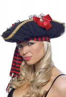 2057 Leg Avenue Costume,  Pirate hat with chiffon rousching, sati