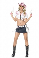 53048 Leg Avenue Costume,  pink cowgirl costume includes tie top,