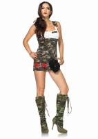 83775 Leg Avenue Costume, Combat Cutie, features tank dress with star