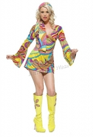 8630 Leg Avenue Costume,  hippie go-go girl Costume, print long b