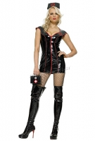 V5310 Leg Avenue Costume, Pvc vinyl Black nurse Costume, zipper front