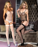 8440 Leg Avenue Bodysuit,  Industrial net cami garter with lace r