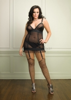 86085Q Leg Avenue Plus Size Lingerie, Power mesh garter dress with we