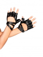 A1060 Leg Avenue Gloves, studded faux leather fingerless motorcycle g