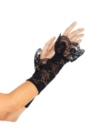 A1955 Leg Avenue Gloves, Stretch lace gauntlet arm warmer with scallo