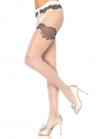 1931 Leg Avenue, Sheer woven polka dot pantyhose with scalloped lace