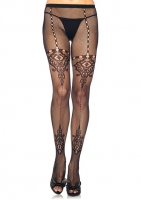9948 Leg Avenue, Micro net pantyhose with chandelier lace detail and