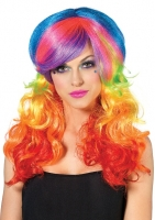 A1977 Leg Avenue Rave Wear, Rainbow Rocker multi-color wig