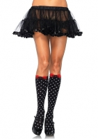 5599 Leg Avenue, Acrylic polka dot knee highs with woven bow accent.