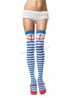 6004 Leg Avenue Stockings,  blue white Anchors away striped thigh