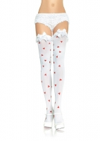 6263 Leg Avenue Stockings, opaque thigh highs with heart print and ru