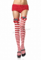 6608 Leg Avenue Stockings,  Nylon striped thigh highs Stockings w
