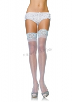 1090Q Leg Avenue Plus Size Bridal Stocking,  Sheer lace top stay