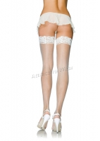 9127Q Leg Avenue Plus Size Stocking, Stay up lace top micro fishnet S