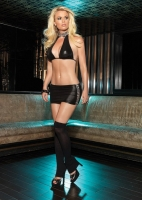 28018 Leg Avenue Clubwear, Wet look halter top and mini skirt with ha