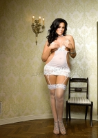 71010Q Leg Avenue Plus Size Bridal Lingerie,  sheer Peek-a-boo me