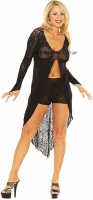 EXOTIC 2 PC. SPIDER WEB LONG SLEEVES CENTER SLIT GOWN WITH MATCHING S