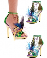 M-Mardigras Ellie Shoes, 5 Inch high heels Stiletto with Beads Feathe