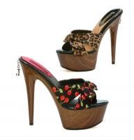Ph609-Cleo Penthouse Shoes By Ellie, 6 Inch high heel wood print stil