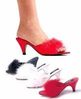 Phoebe Ellie Shoes, Satin Marabou Slippers Shoes