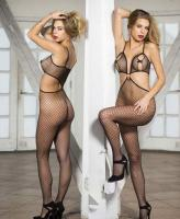 90379 Shirley Of Hollywood, Stretch fishnet open front bodystocking