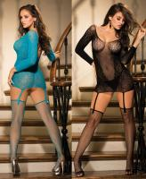 90413 Shirley lace mesh long sleeve chemise garters
