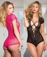 96589 Shirley Stretch fishnet bodysuit with criss cross deep v front