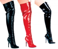 Vixen Ellie Shoes, 5 Inch high heels Lace Up Thigh High  Boots